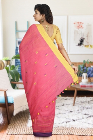 Peach Colour with Yellow and Purple Border Hand Woven Pure Cotton Saree 1