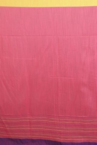 Peach Colour with Yellow and Purple Border Hand Woven Pure Cotton Saree 2