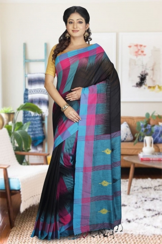 Black with Sky Blue and Pink Cotrast Hand Woven Pure Cotton Saree