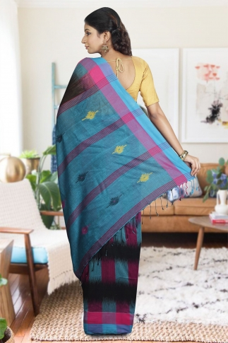 Black with Sky Blue and Pink Cotrast Hand Woven Pure Cotton Saree 1