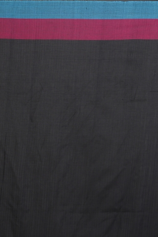 Black with Sky Blue and Pink Cotrast Hand Woven Pure Cotton Saree 2