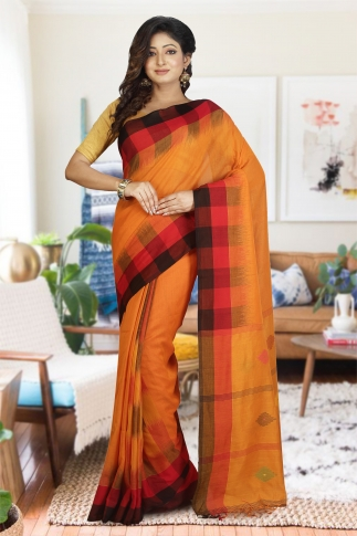 Orange with Red and Black Border Hand Woven Pure Cotton Saree