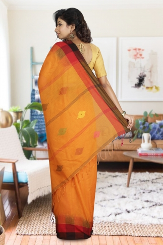 Orange with Red and Black Border Hand Woven Pure Cotton Saree 1