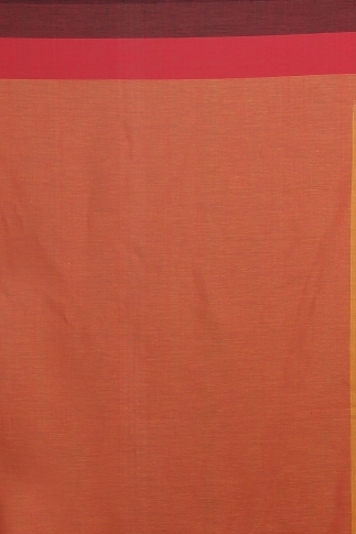 Orange with Red and Black Border Hand Woven Pure Cotton Saree 2