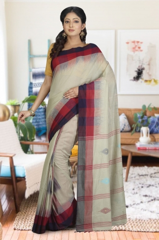 Beige With Red and Black Border Hand Woven Pure Cotton Saree