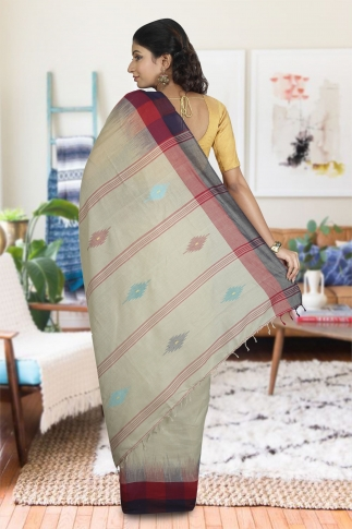 Beige With Red and Black Border Hand Woven Pure Cotton Saree 1