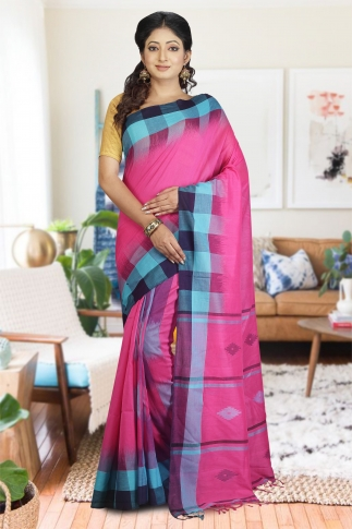 Pink and Blue Hand Woven Pure Cotton Saree
