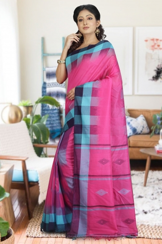 Pink and Blue Hand Woven Pure Cotton Saree 1