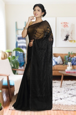 Black Hand Woven Dhakai Jamdani saree without Blouse 1