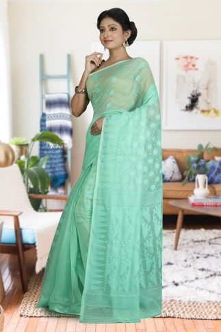 Sea Green Hand Woven Dhakai Jamdani saree without Blouse 1