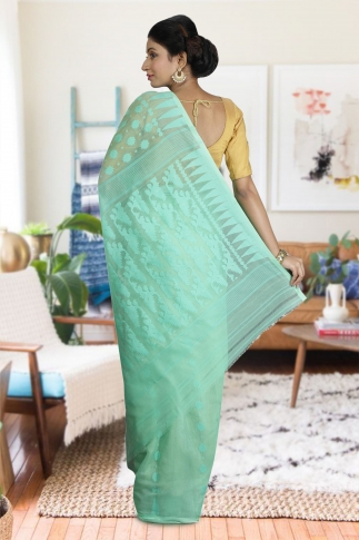 Sea Green Hand Woven Dhakai Jamdani saree without Blouse 2