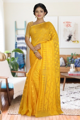 Yellow Hand Woven Dhakai Jamdani saree without Blouse