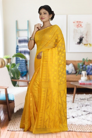 Yellow Hand Woven Dhakai Jamdani saree without Blouse 1