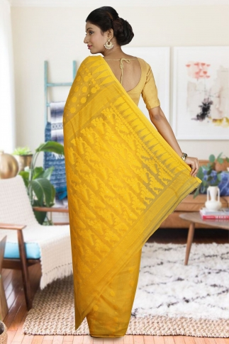 Yellow Hand Woven Dhakai Jamdani saree without Blouse 2