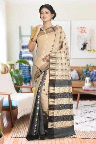 Beige and Black Hand Woven Dhakai Jamdani saree without Blouse