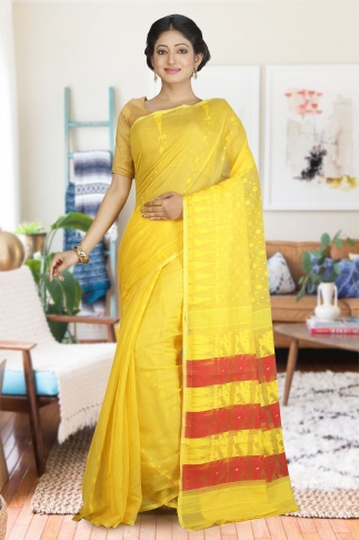 Yellow and Red Hand Woven Dhakai Jamdani saree without Blouse