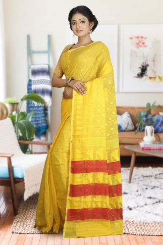 Yellow and Red Hand Woven Dhakai Jamdani saree without Blouse 1