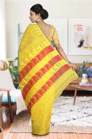 Yellow and Red Hand Woven Dhakai Jamdani saree without Blouse 2