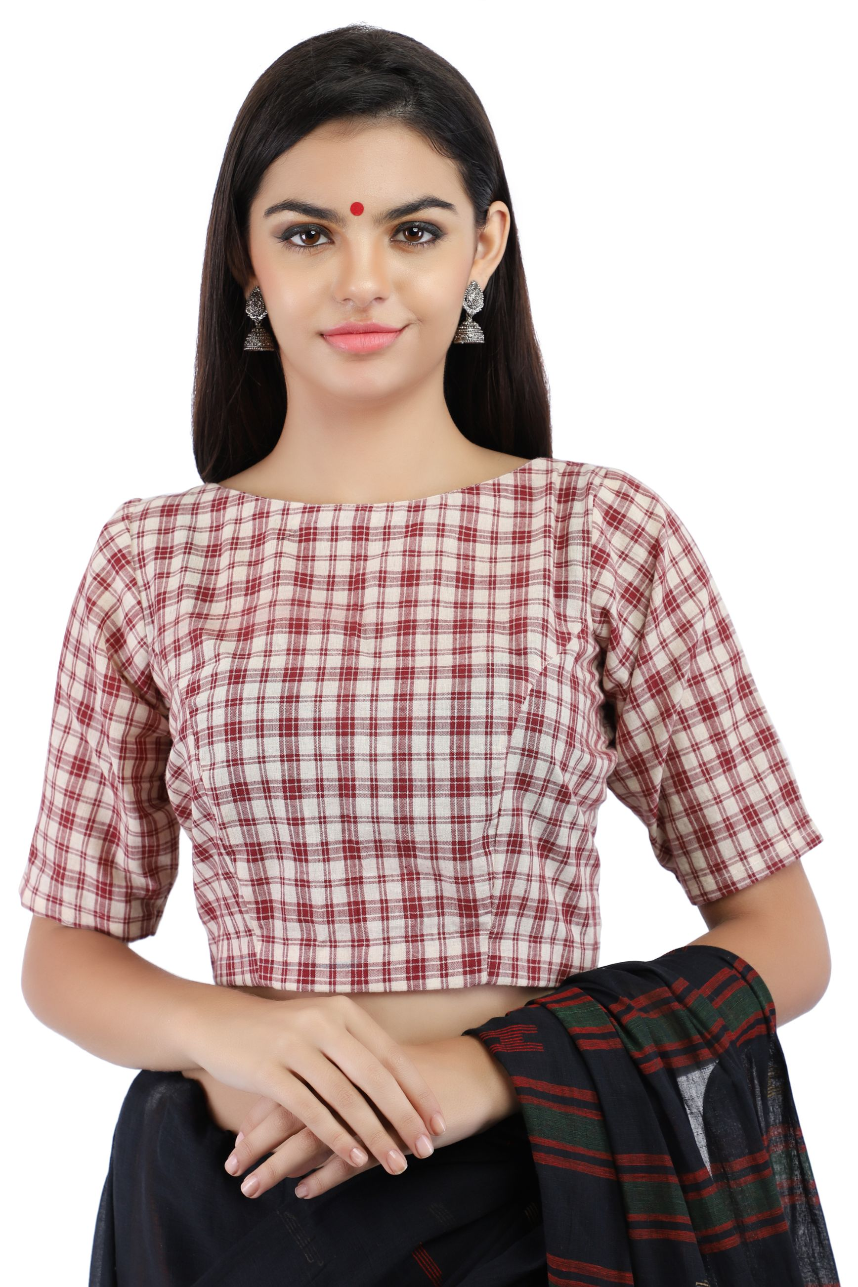Handloom Maroon and White Pure Cotton Checks Boat Neck Blouse With Back Keyhole