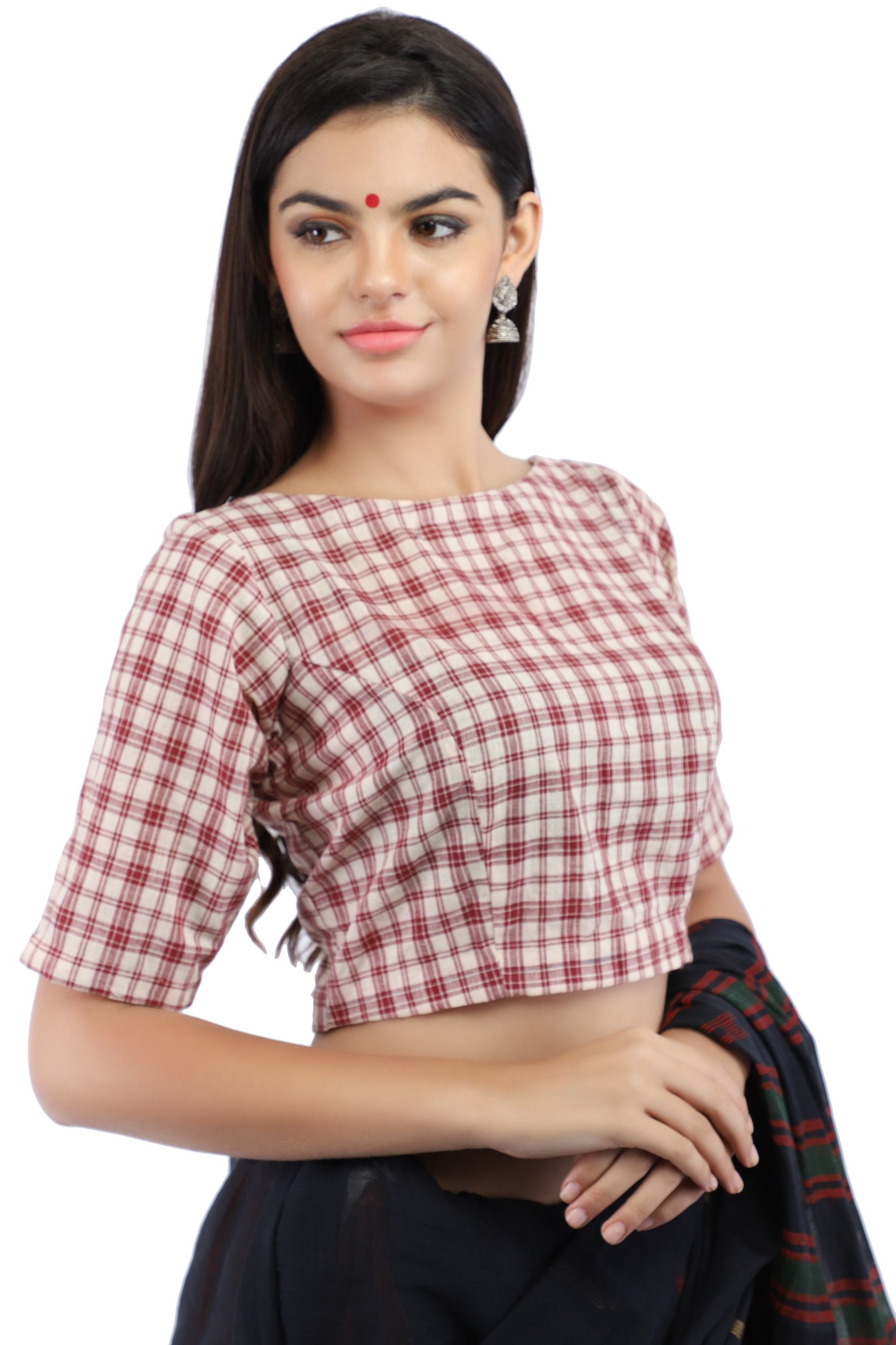 Handloom Maroon and White Pure Cotton Checks Boat Neck Blouse With Back Keyhole 1