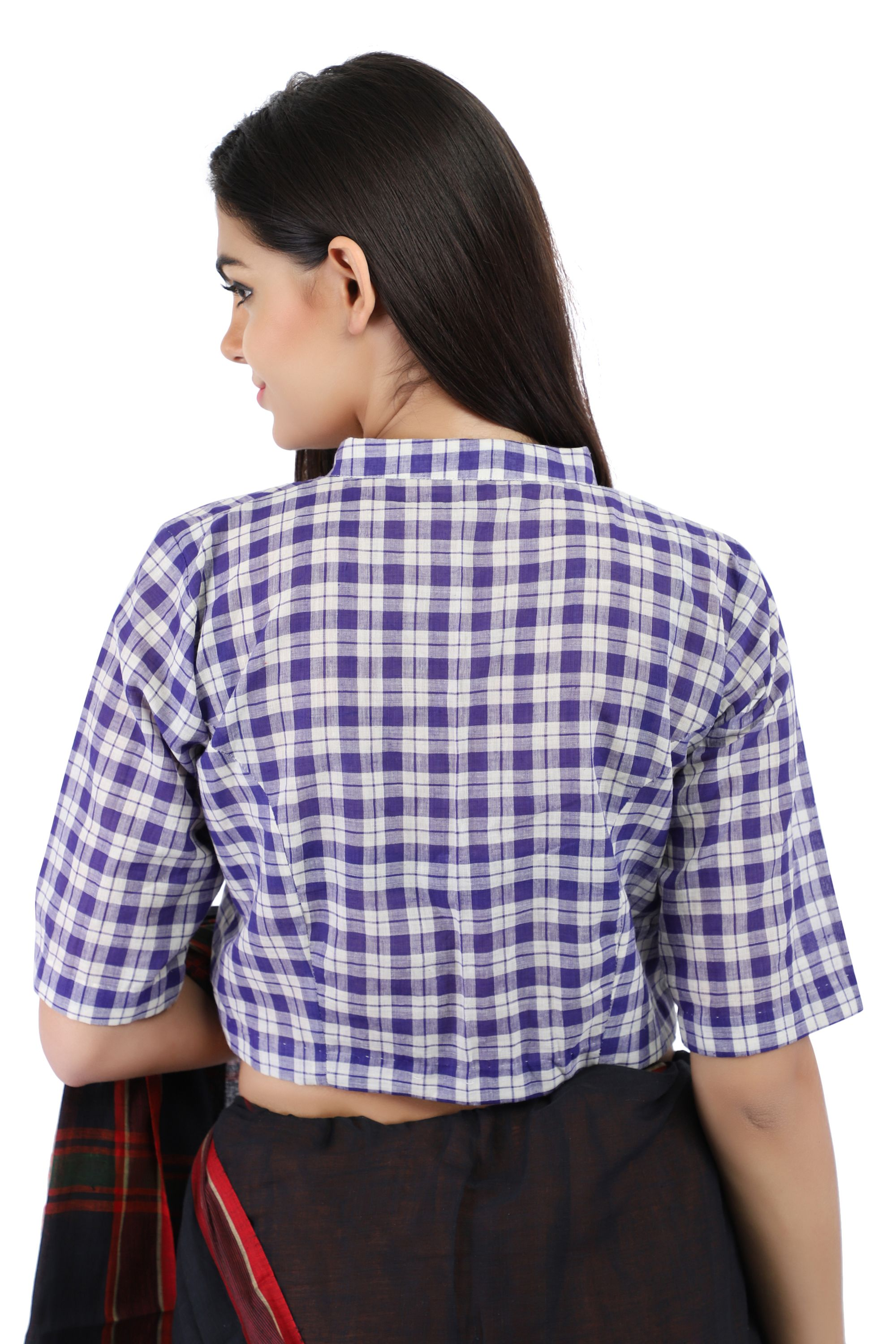 Pure Cotton Handloom Checks Blouse in Purple and White chinese Collar With Hook Closure on Front 2