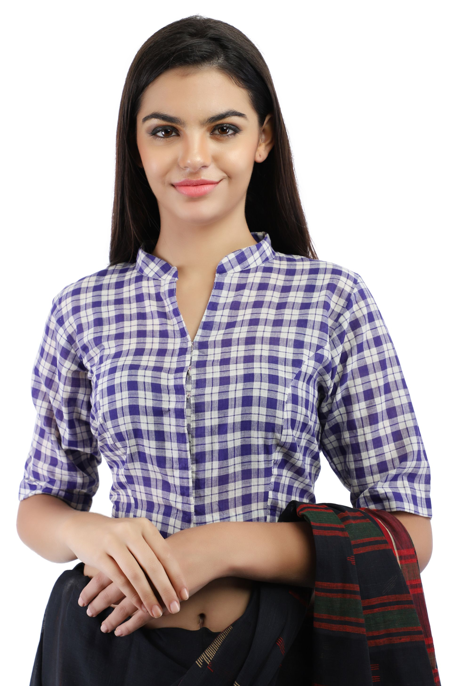 Pure Cotton Handloom Checks Blouse in Purple and White chinese Collar With Hook Closure on Front
