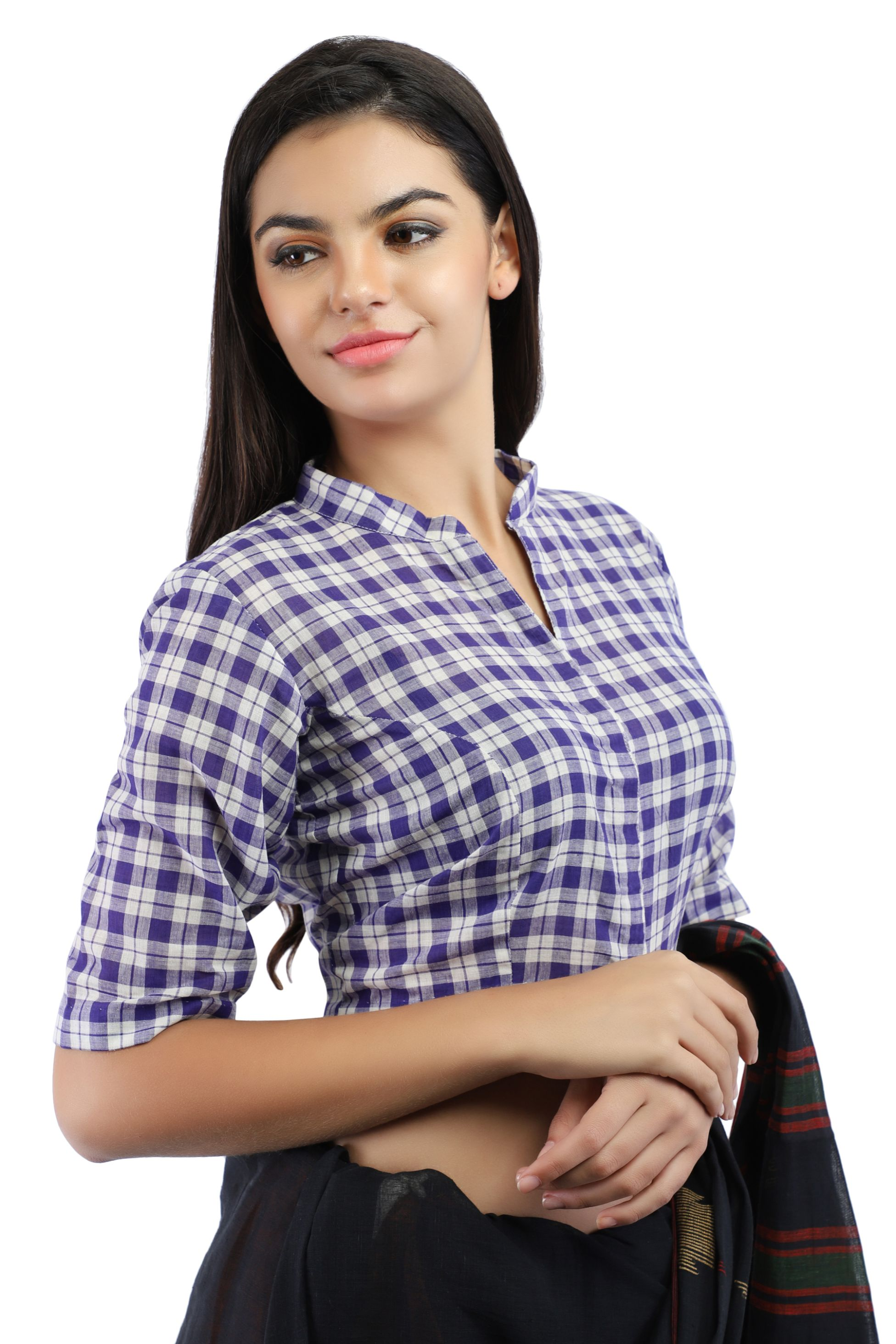 Pure Cotton Handloom Checks Blouse in Purple and White chinese Collar With Hook Closure on Front 1