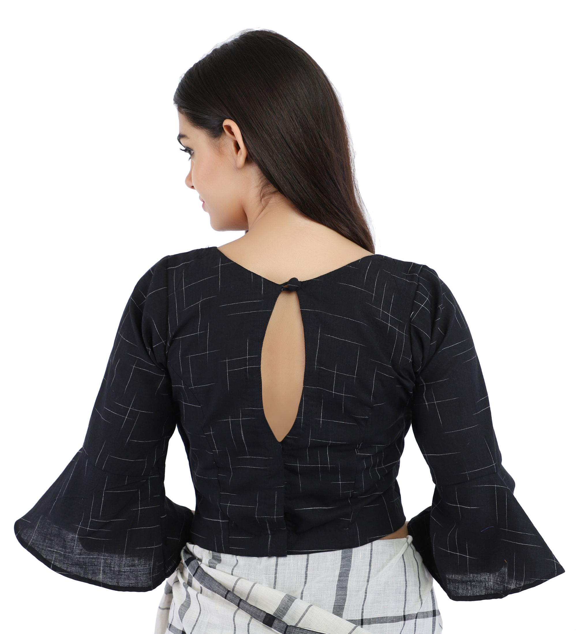 Black Pure Cotton Handloom Back-Open Blouse With Bell Sleeve 2