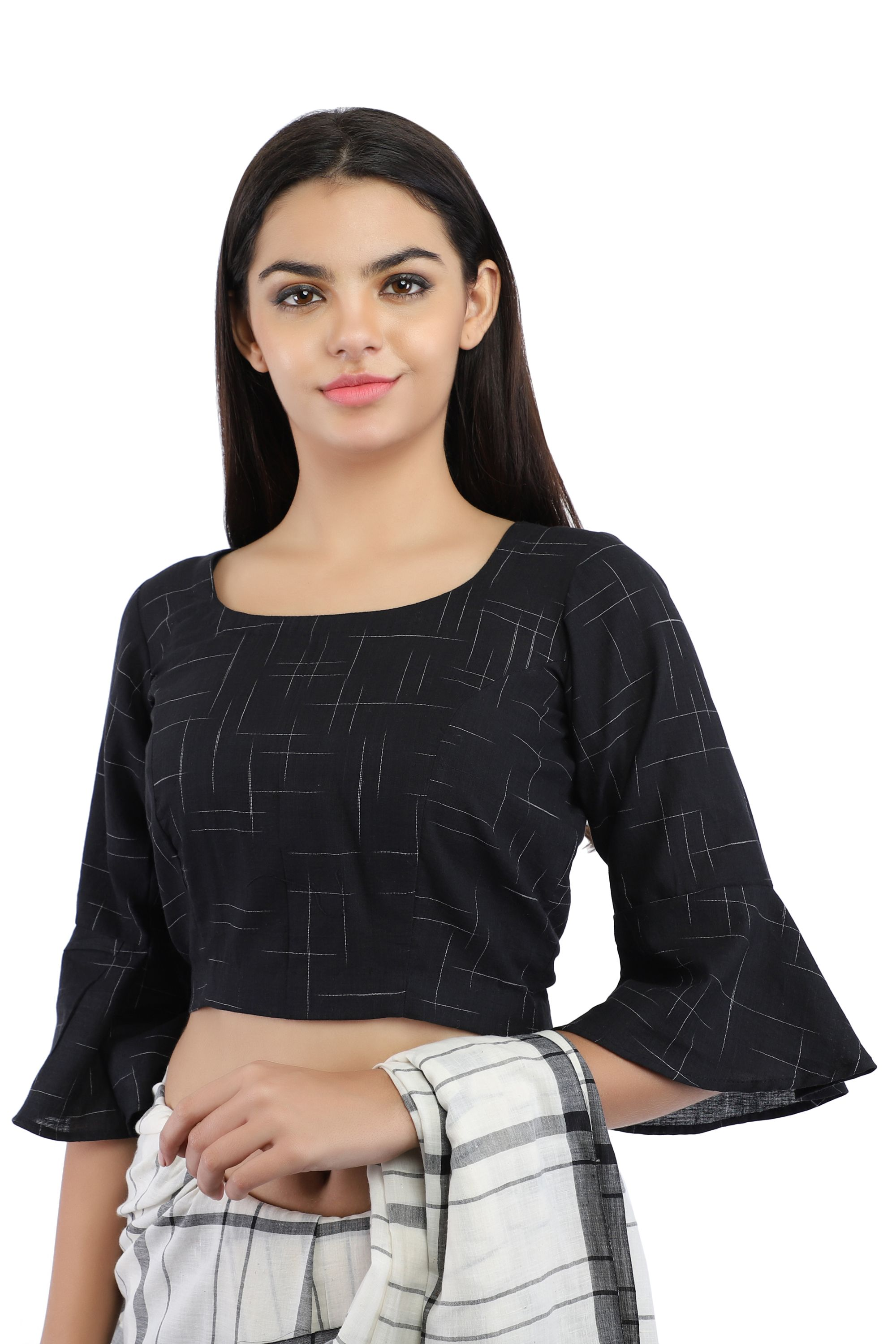 Black Pure Cotton Handloom Back-Open Blouse With Bell Sleeve