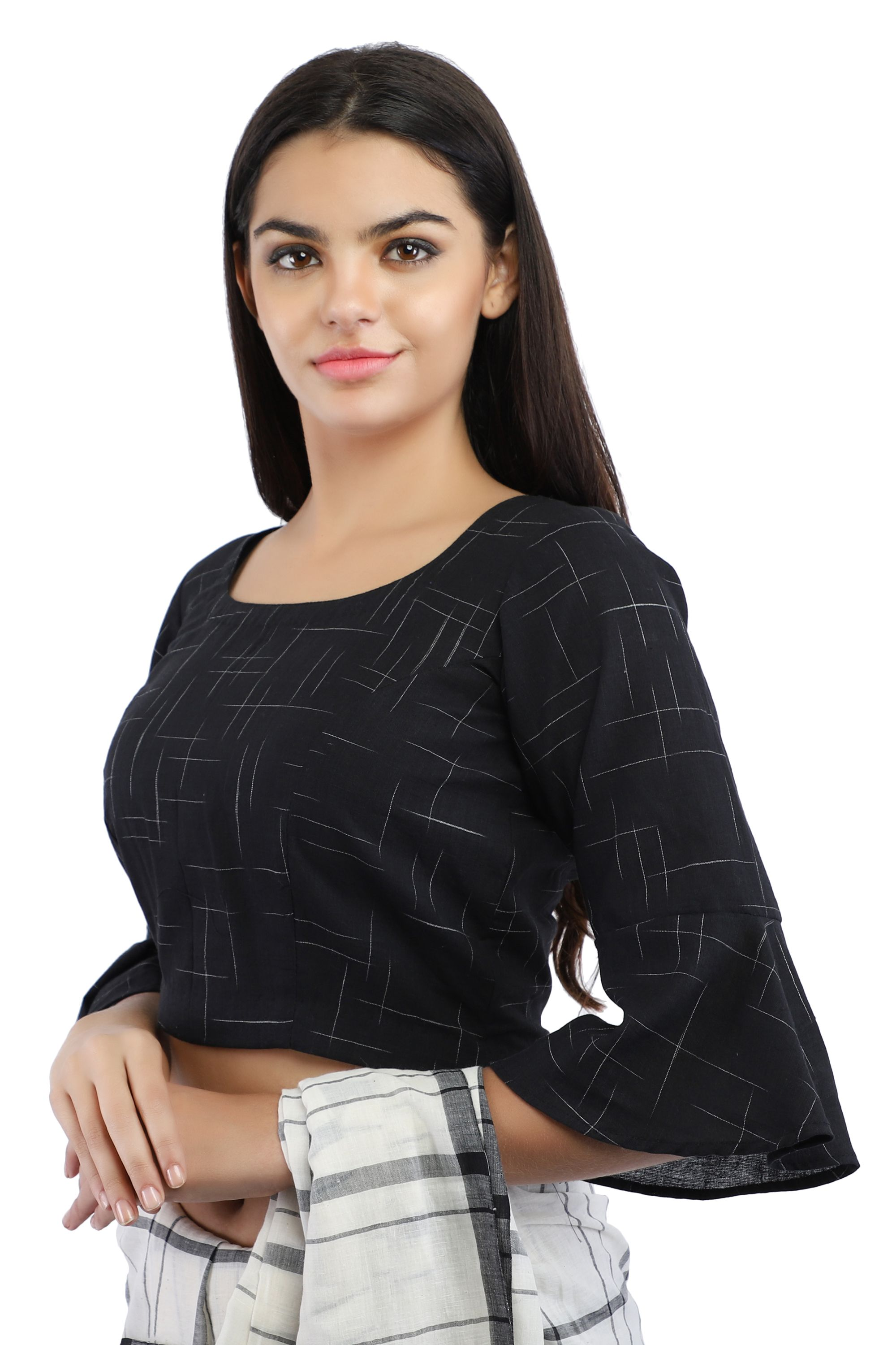 Black Pure Cotton Handloom Back-Open Blouse With Bell Sleeve 1