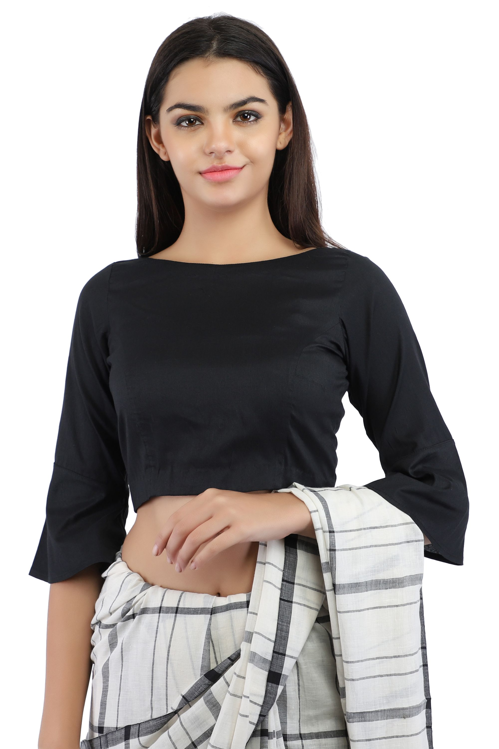 Black Cotton Silk Non-Padded Back Open Blouse in Boat Neck With Bell Sleeve