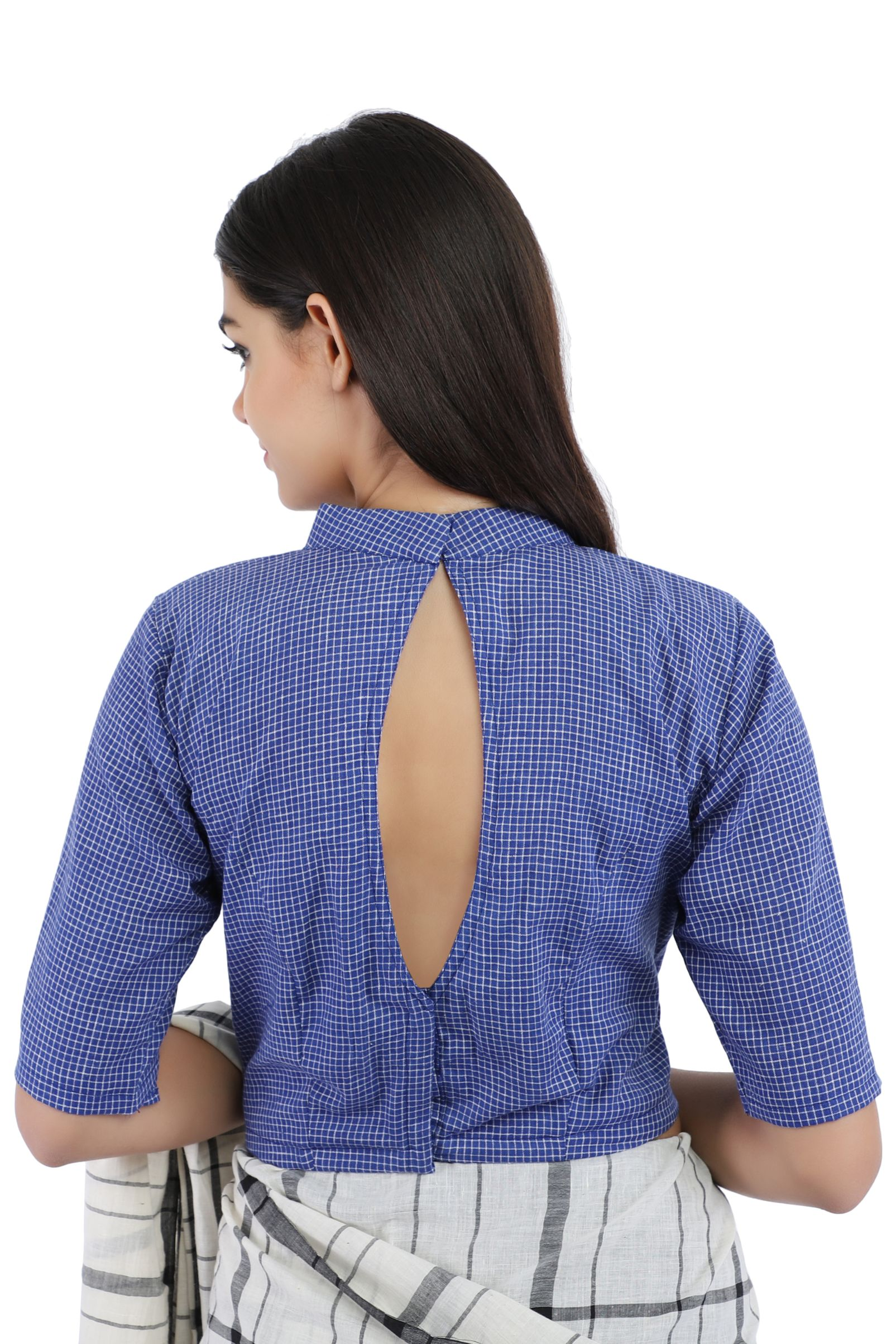 Pure Cotton Indigo Blue Handloom Blouse With Back Keyhole 2