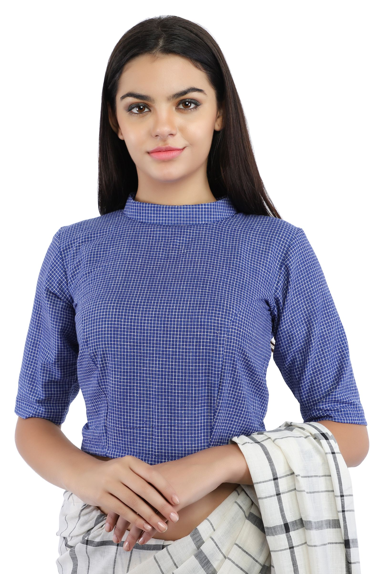 Pure Cotton Indigo Blue Handloom Blouse With Back Keyhole