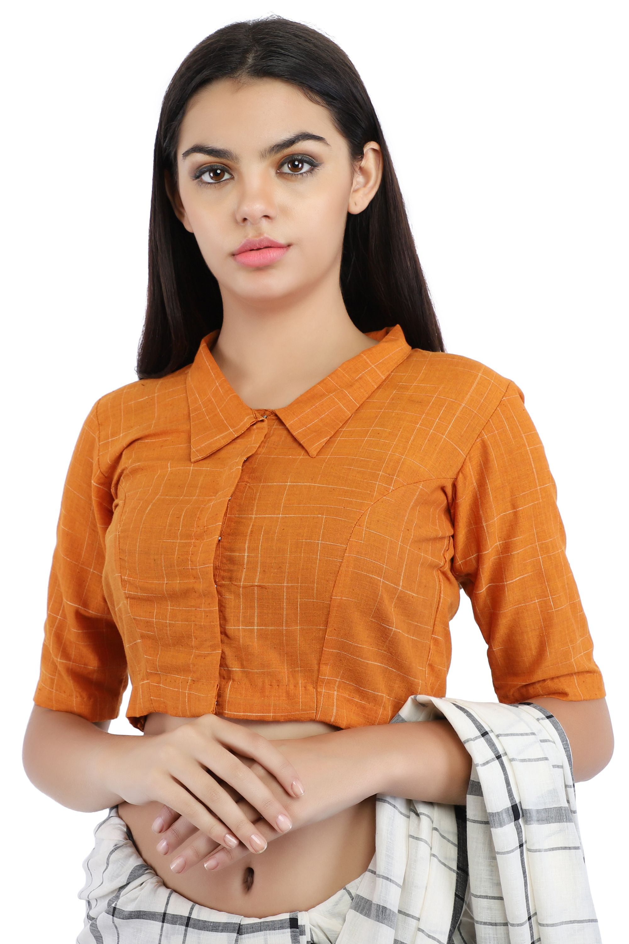 Mustard Yellow Pure Cotton Handloom Front-Open Blouse With Collared Neckline
