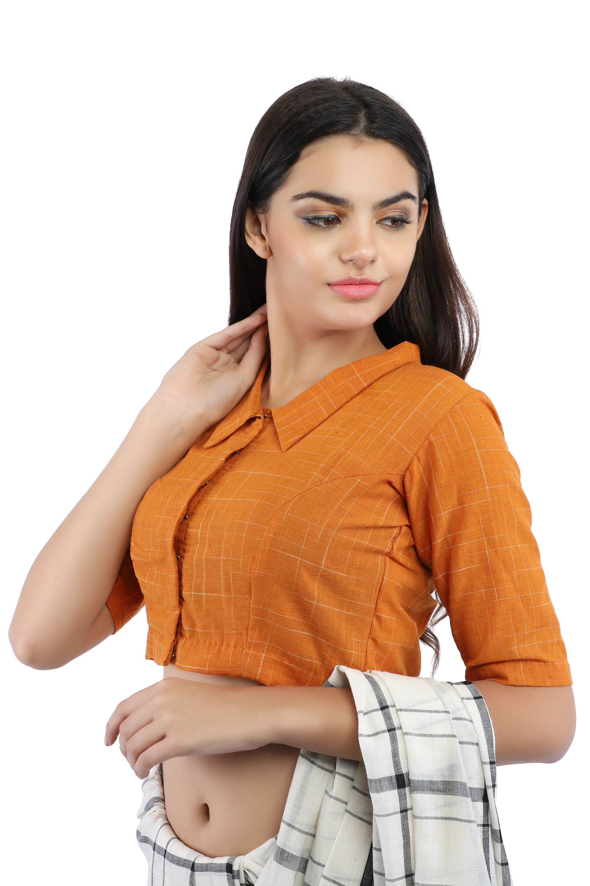 Mustard Yellow Pure Cotton Handloom Front-Open Blouse With Collared Neckline 1