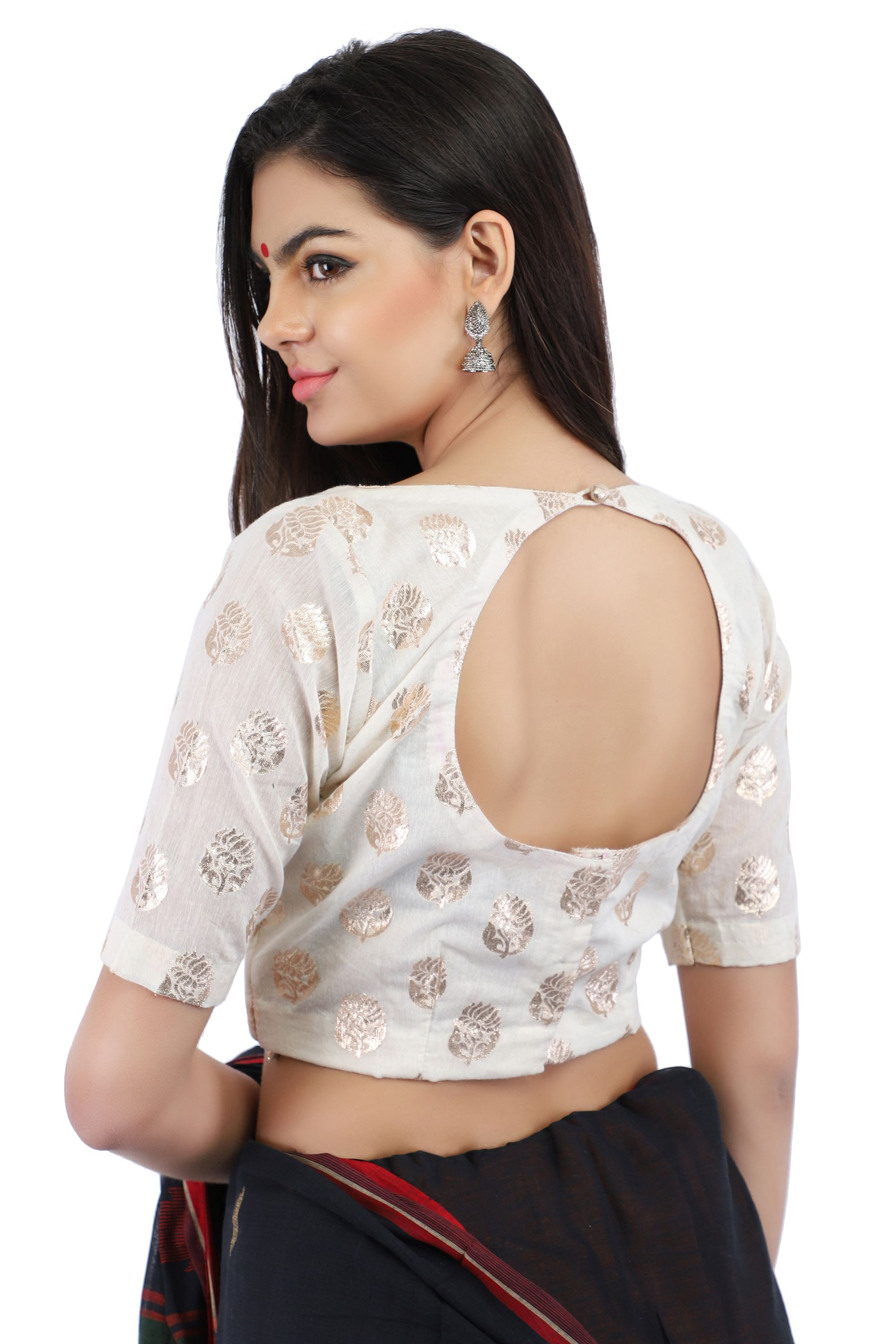 Handloom Banarasi Chanderi Brocade Non-Padded Blouse in White With Hook Closure on Back 2