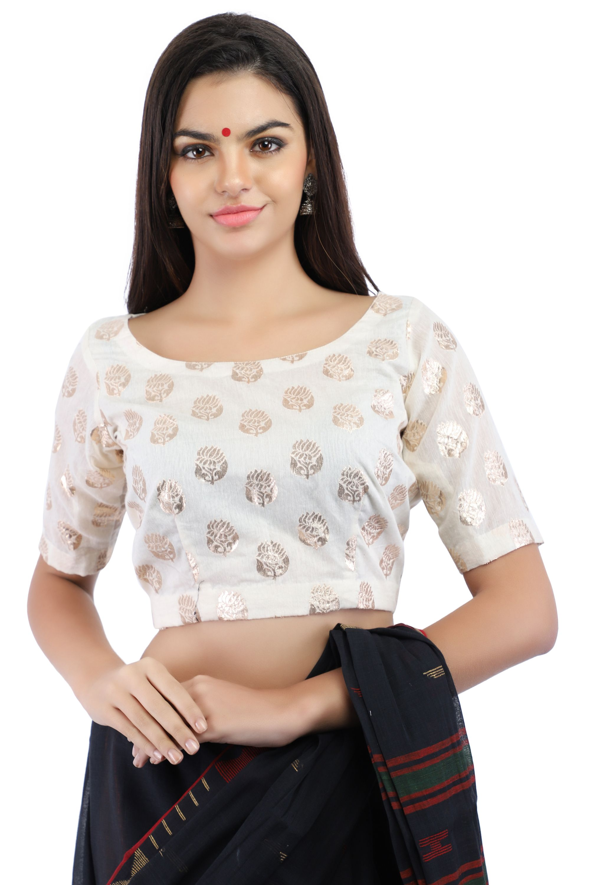 Handloom Banarasi Chanderi Brocade Non-Padded Blouse in White With Hook Closure on Back