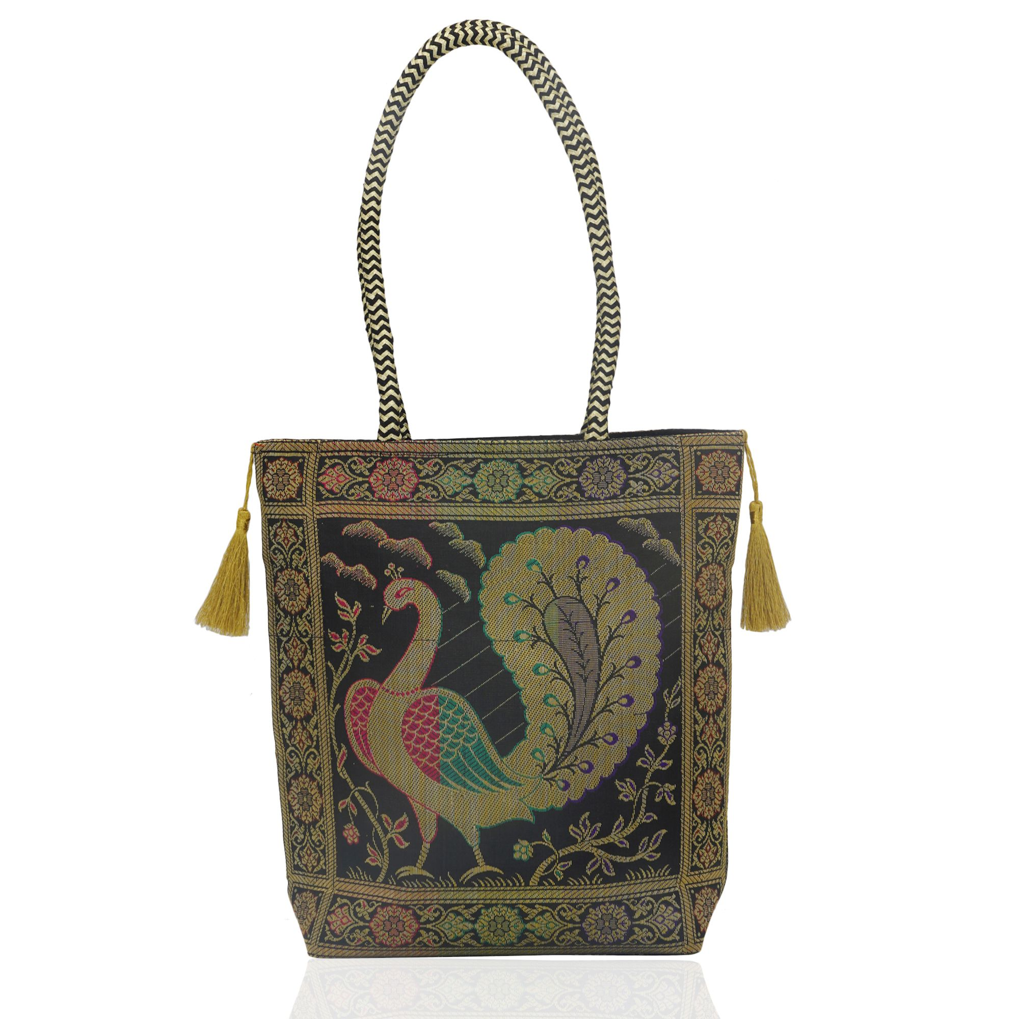 Handloom Black Banarasi Brocade bag with Golden Tassels in Peacock Motif