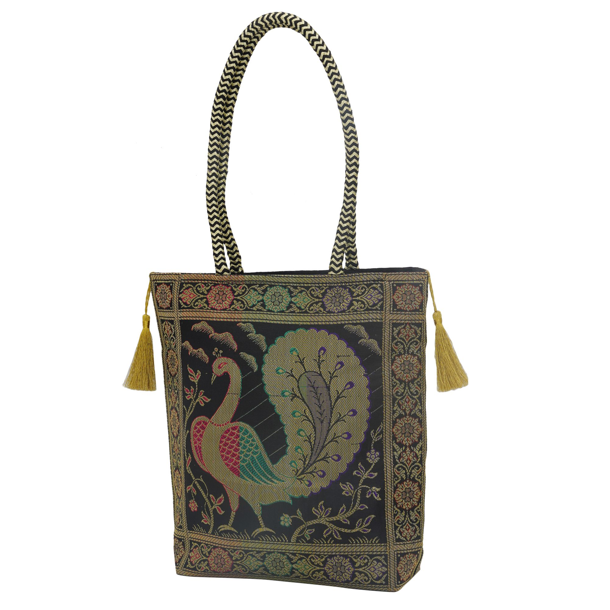 Handloom Black Banarasi Brocade bag with Golden Tassels in Peacock Motif 0