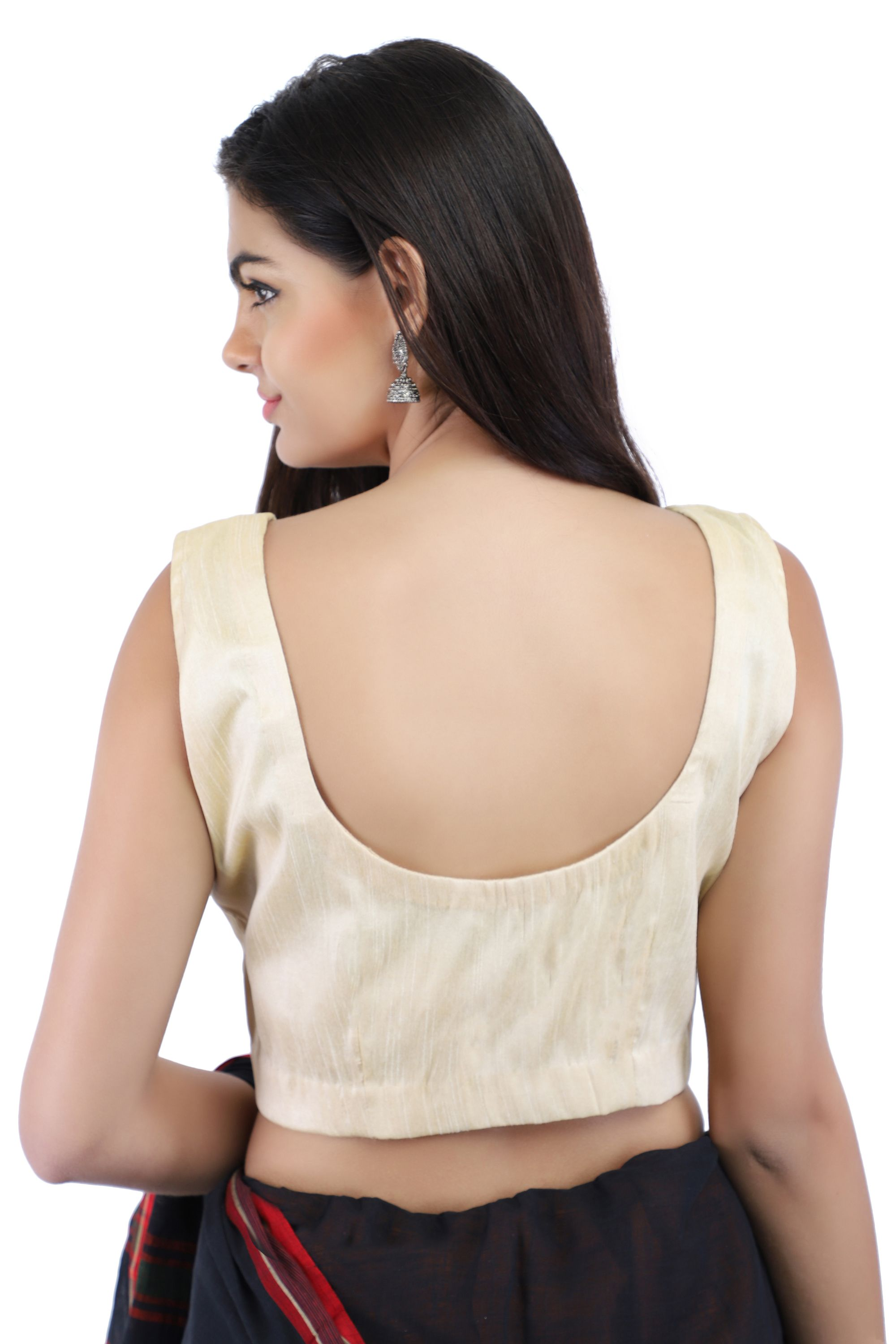 Dupion Silk Non-Padded Blouse in Beige With hook Closure on Front 2