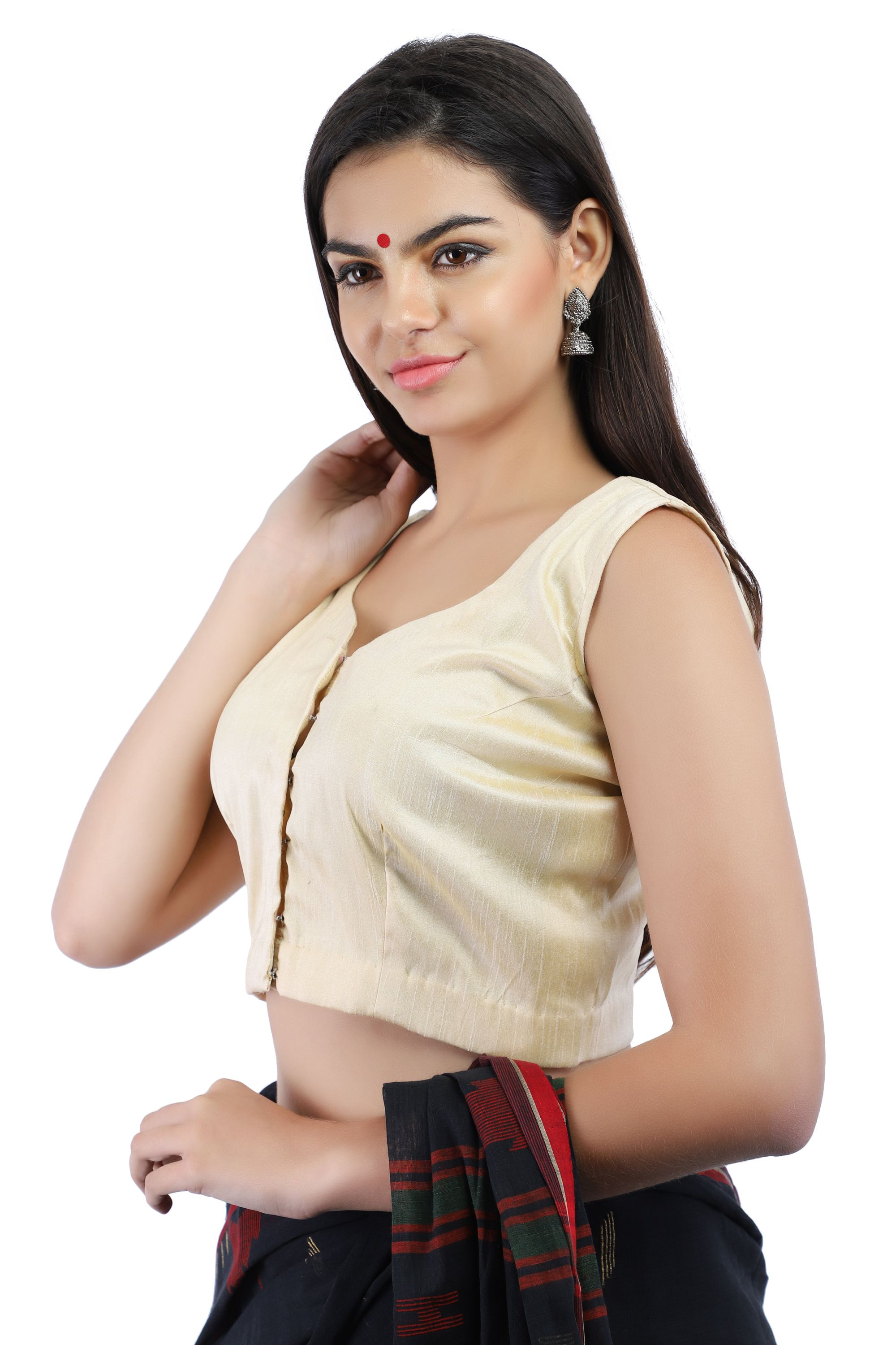 Dupion Silk Non-Padded Blouse in Beige With hook Closure on Front 1