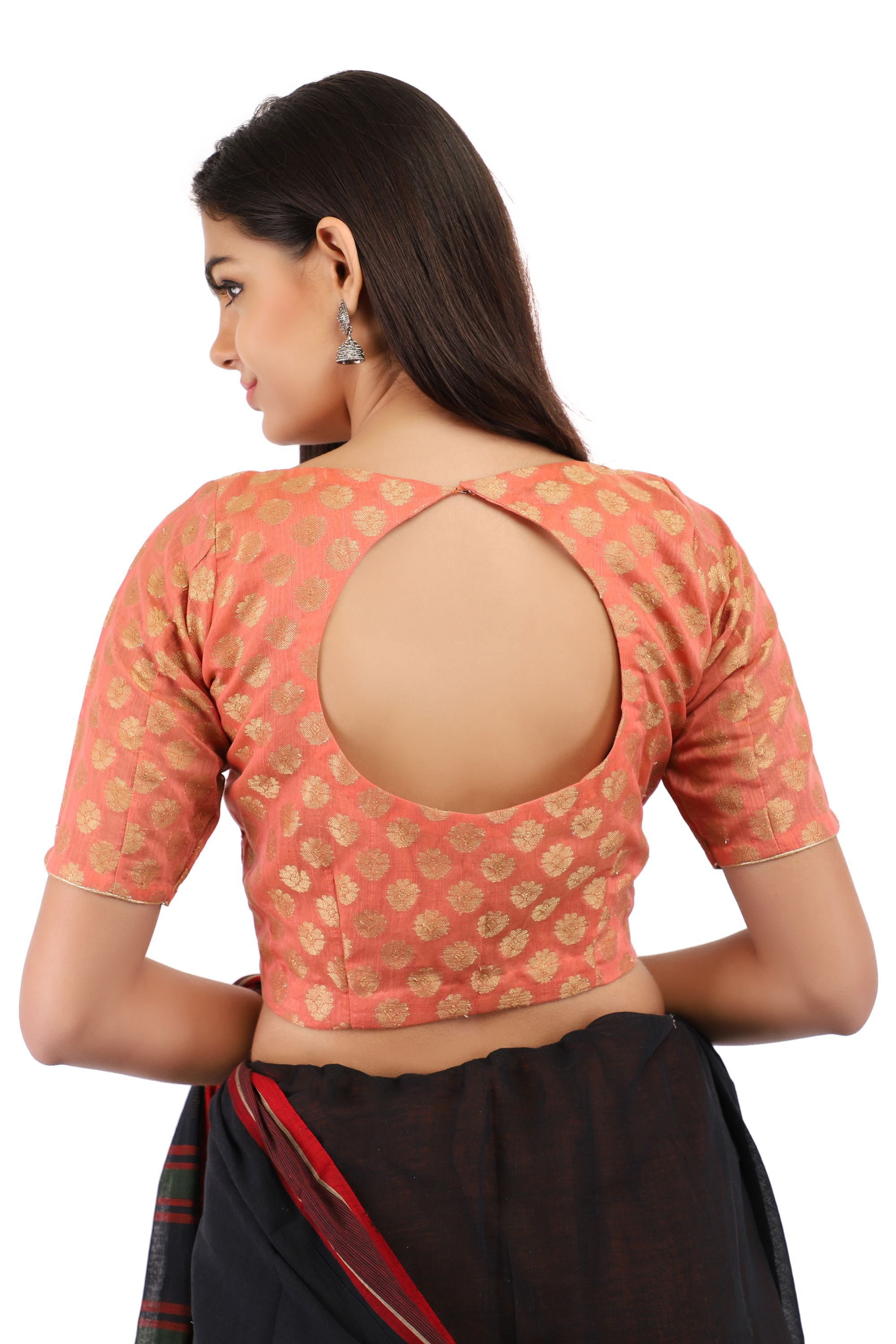 Banarasi Chanderi Silk Jacquard Front-Open Blouse In Peach 2