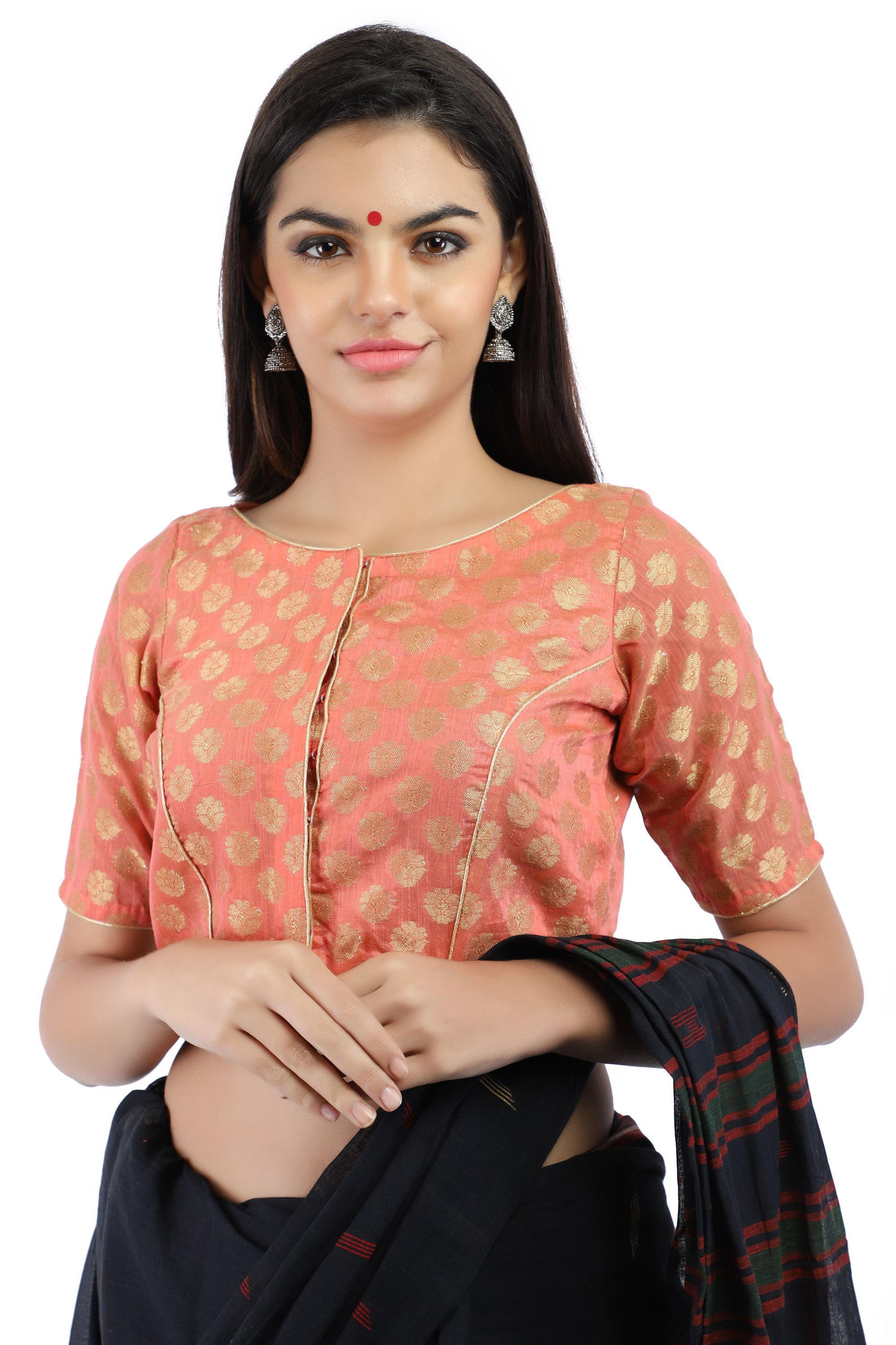 Banarasi Chanderi Silk Jacquard Front-Open Blouse In Peach