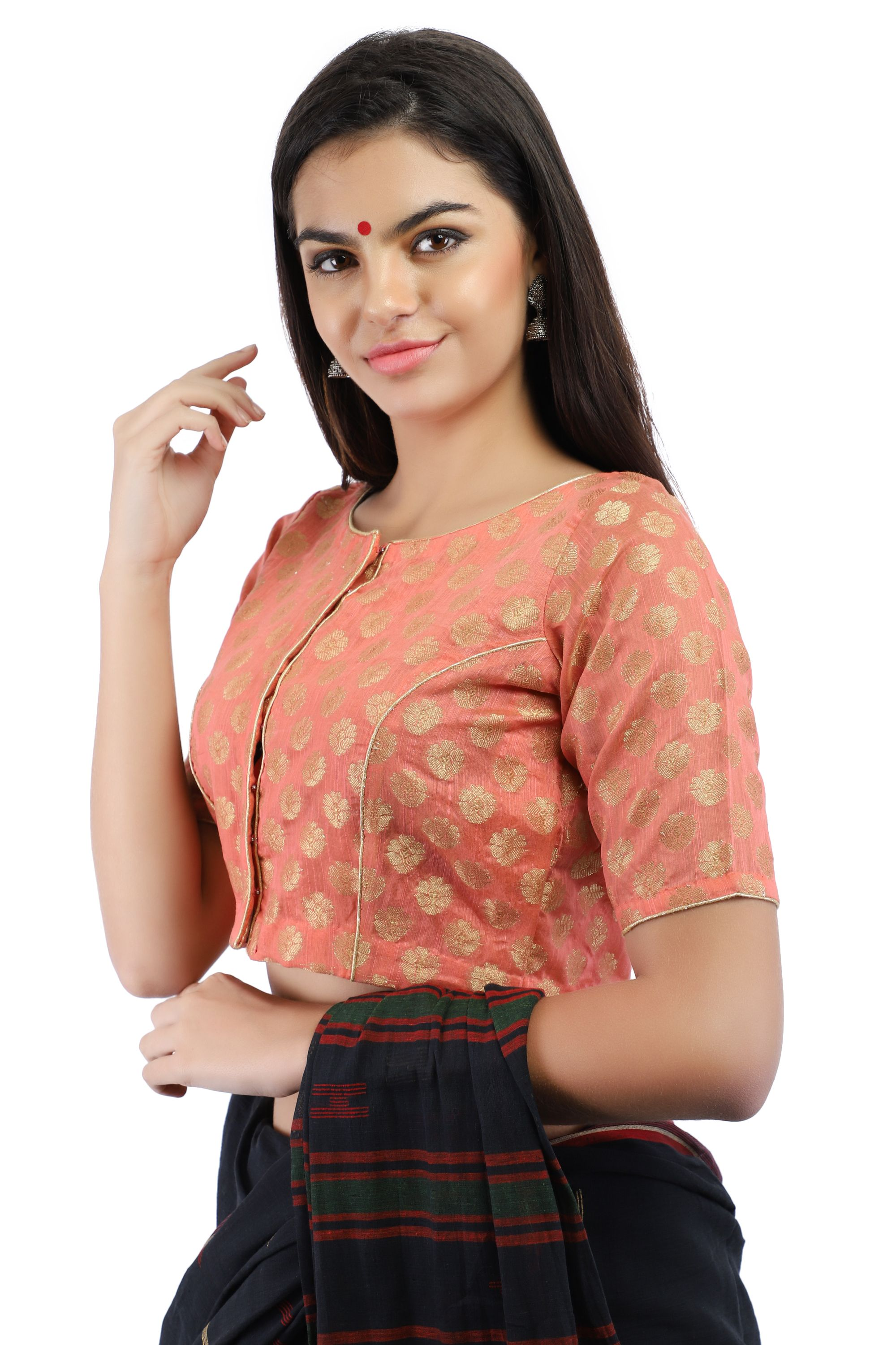 Banarasi Chanderi Silk Jacquard Front-Open Blouse In Peach 1