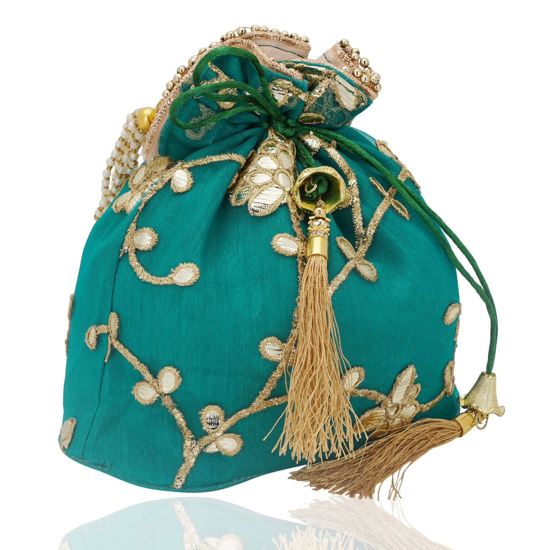 Net Gotapatti Work Potli Bag in Green