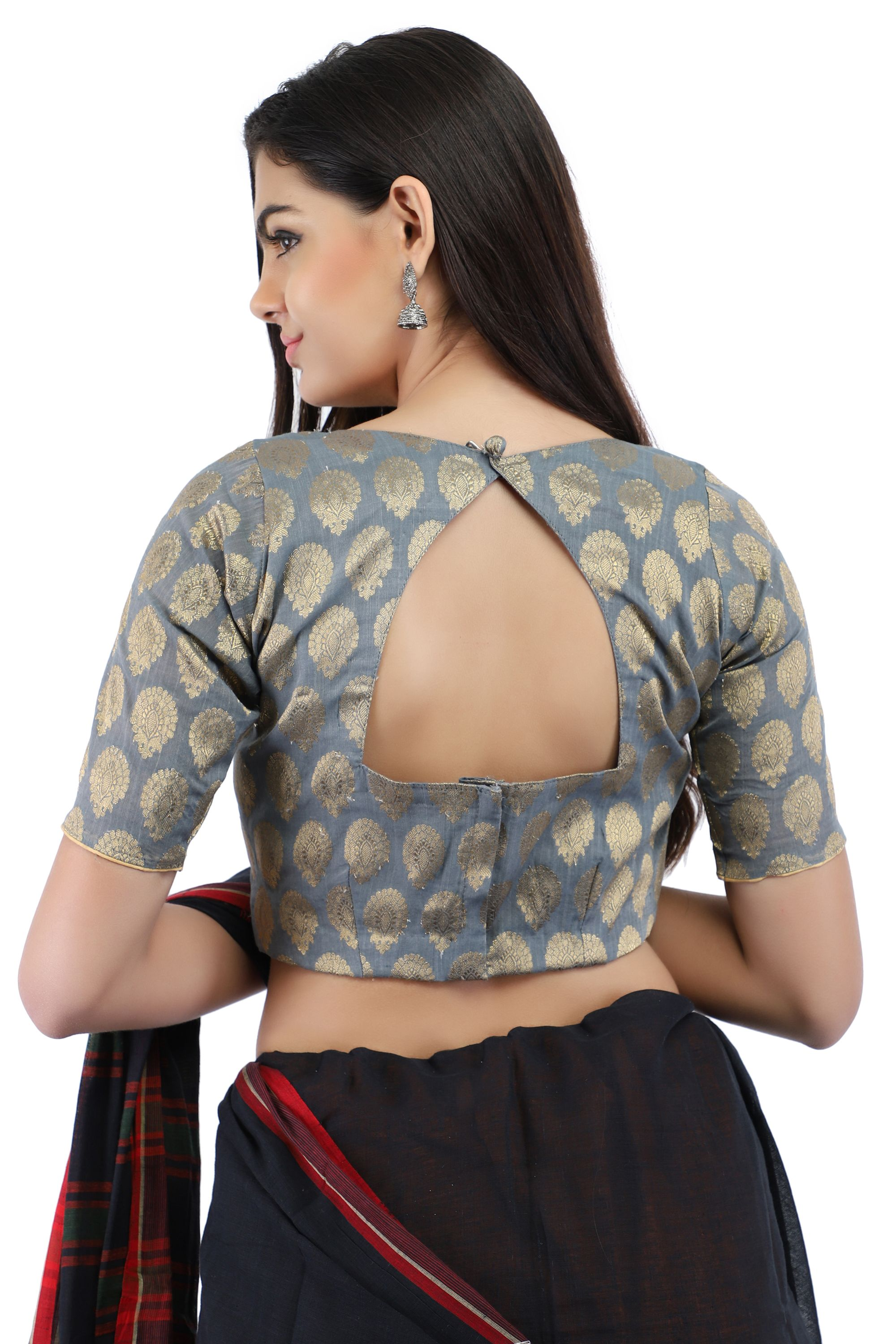 Banarasi Chanderi Silk Jacquard Boat Neck Blouse In Grey With Hook Closure on Back 2