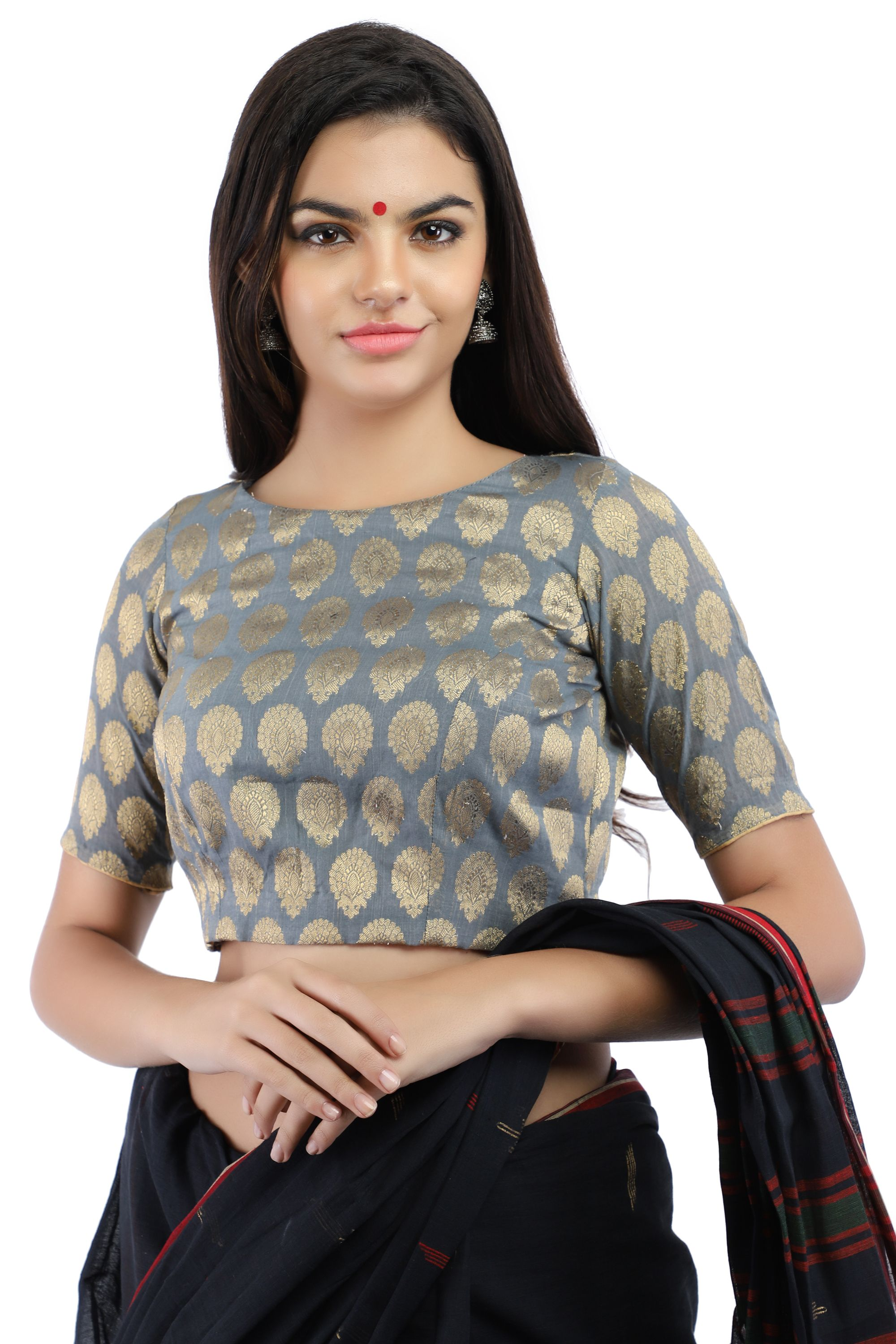 Banarasi Chanderi Silk Jacquard Boat Neck Blouse In Grey With Hook Closure on Back