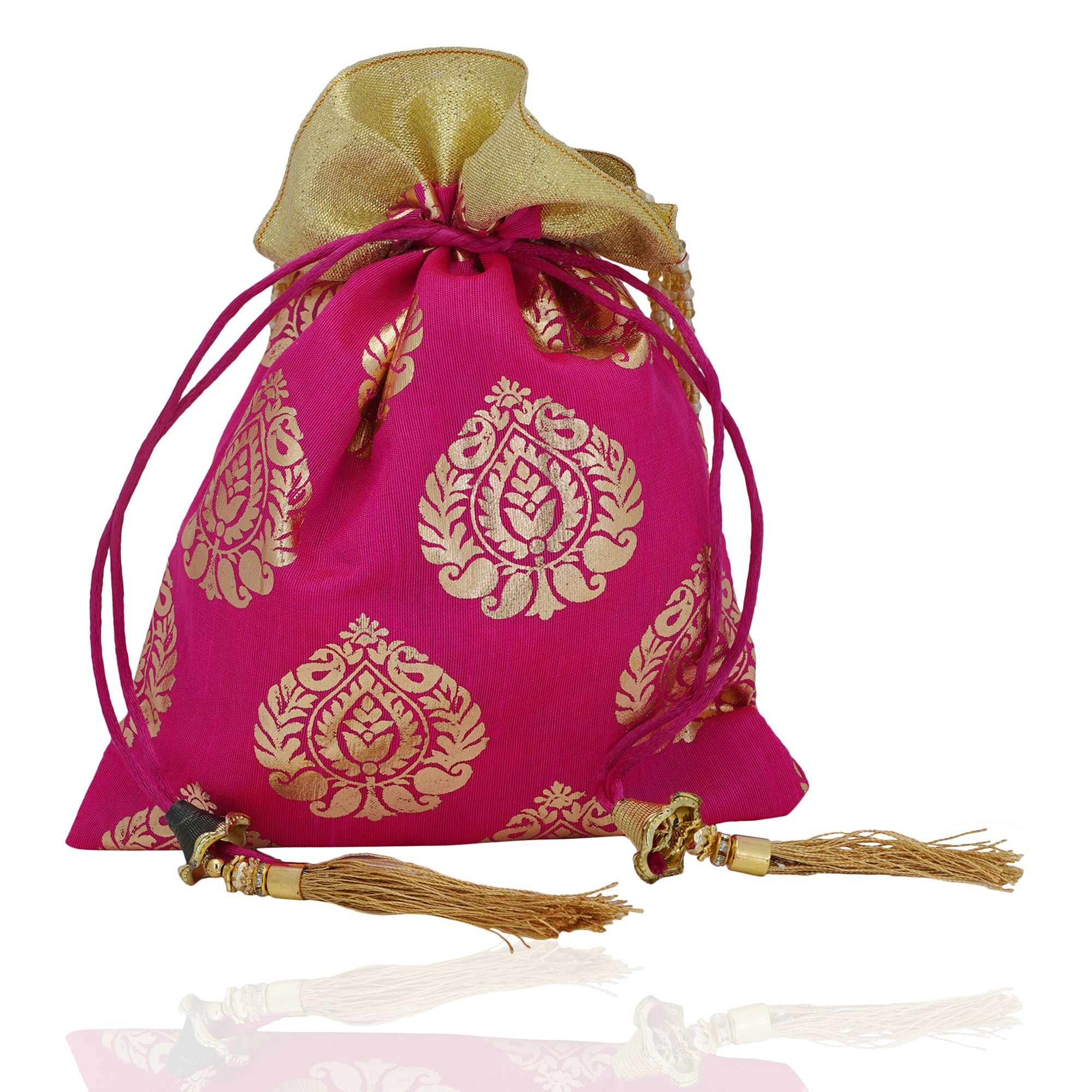 Pink Foil Print Dupion Silk Potli Bag With Golden Tassels 1