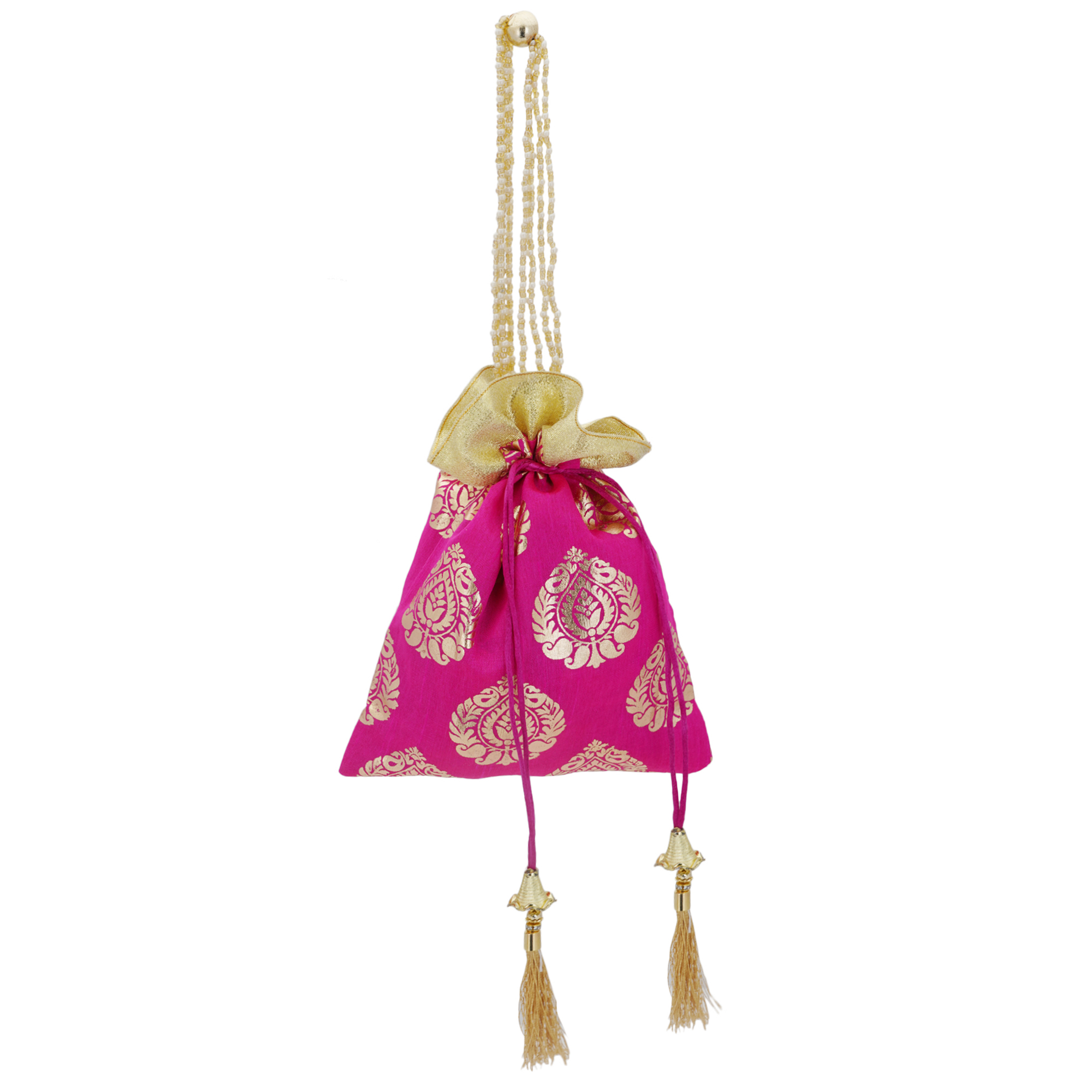Pink Foil Print Dupion Silk Potli Bag With Golden Tassels 2
