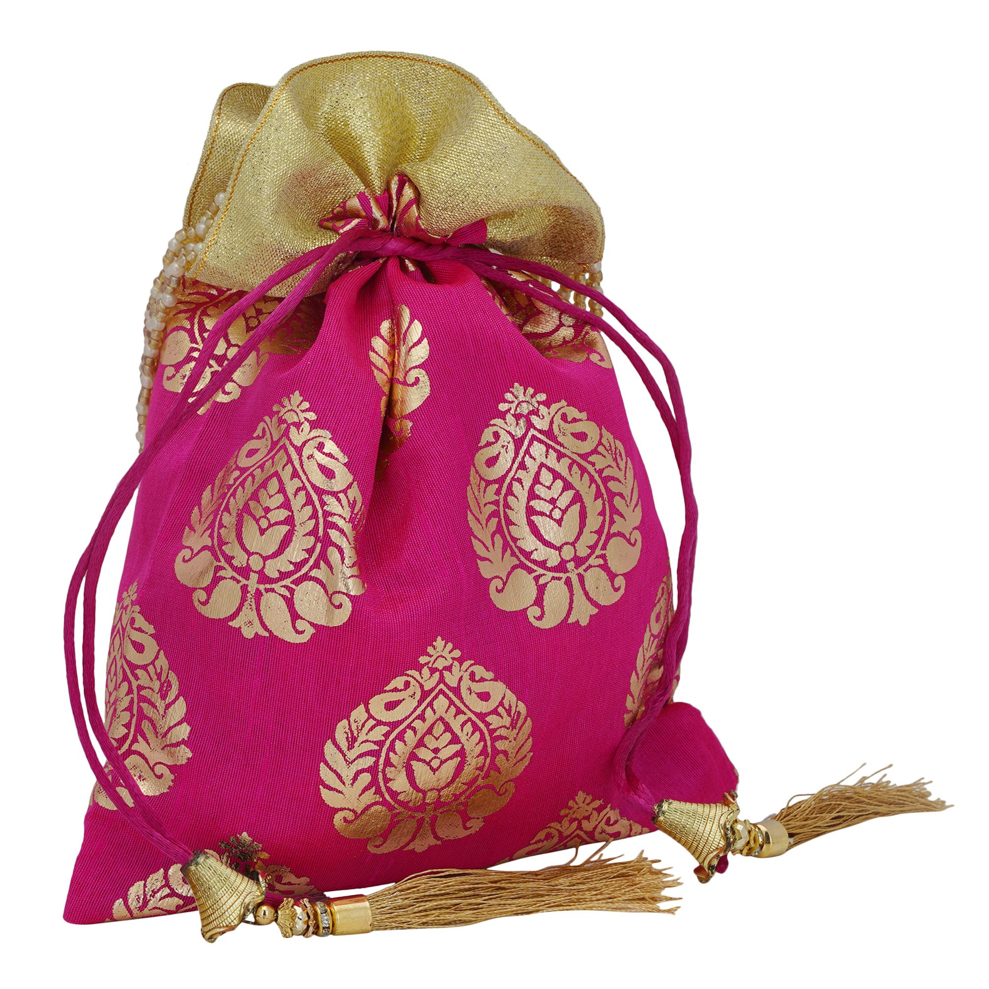 Pink Foil Print Dupion Silk Potli Bag With Golden Tassels